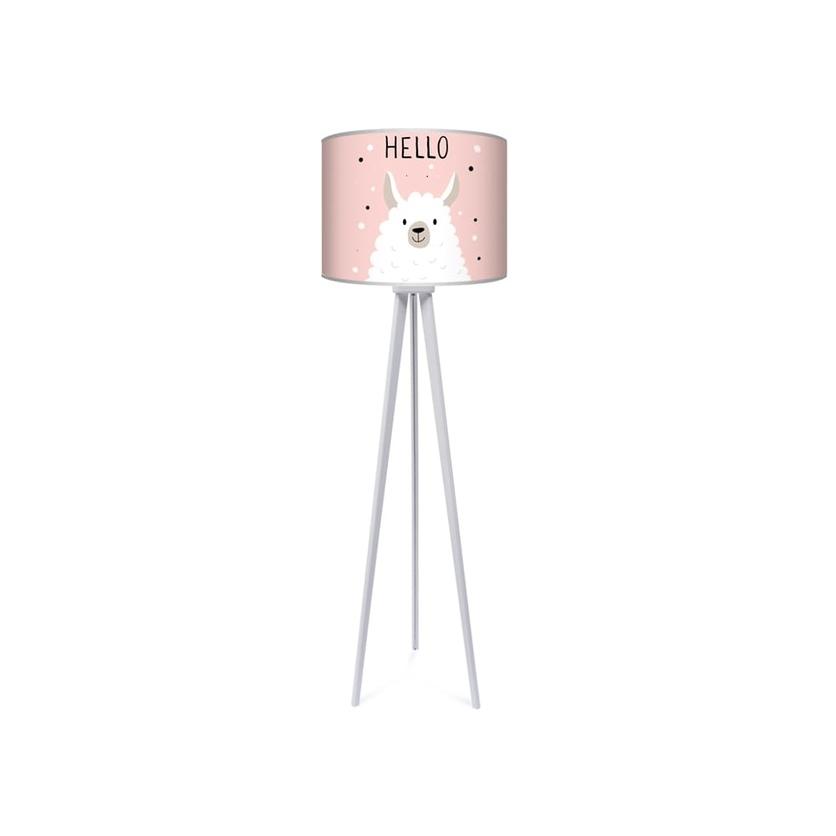 Lampa podłogowa dla dziewczynki trójnóg różowa Lama