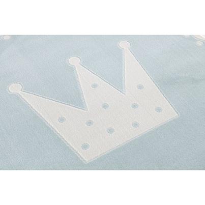 Dywan dziecięcy okrągły 133cm - Crown - niebieski do pokoju dziecięcego do pokoju dziecięcego