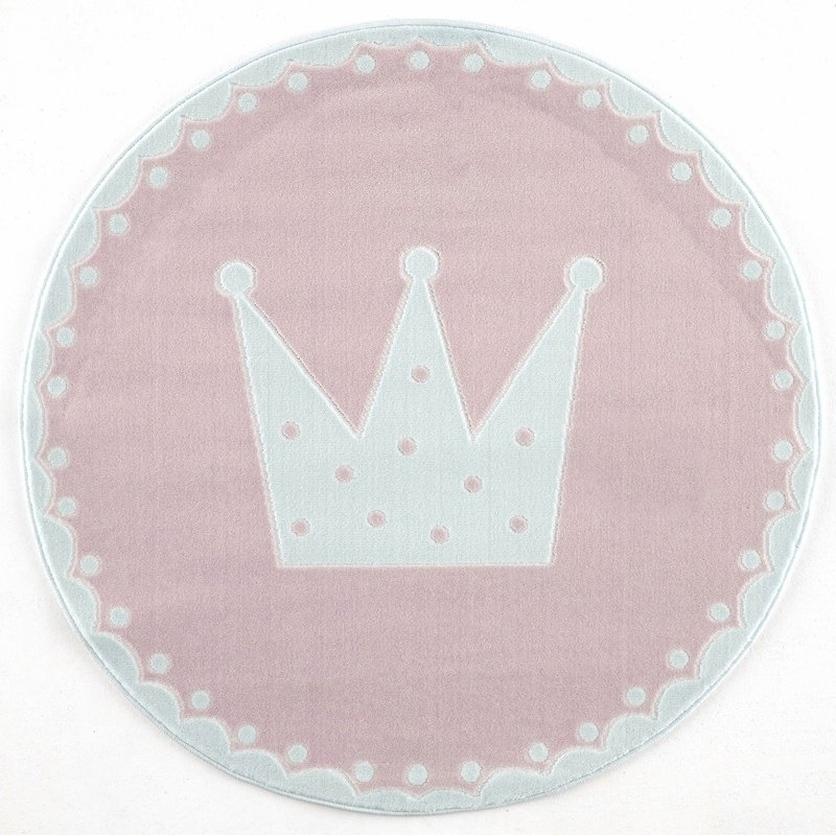 Dywan dziecięcy okrągły 133cm - Crown - różowy do pokoju dziecięcego do pokoju dziecięcego