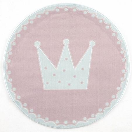 Dywan dziecięcy 133cm - Crown - różowy do pokoju dziecięcego