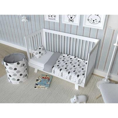 Bawełniana Pościel dziecięca do łóżeczka w Jeżyki 100x135 dla chłopca