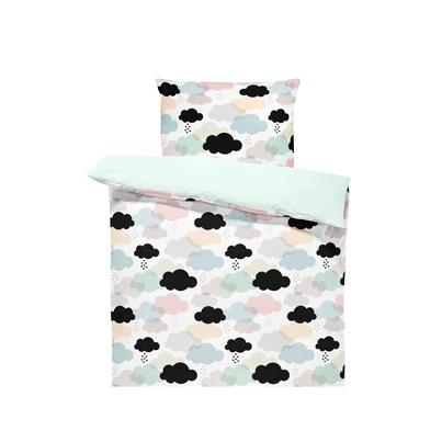 Bawełniana Pościel dziecięca do łóżeczka Pastelowe Chmurki 100x135 dla dziewczynki