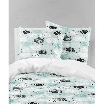 Bawełniana Pościel dziecięca do łóżeczka Chmurki na mięcie 90x120