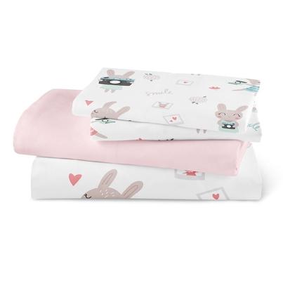 Bawełniana Pościel dziecięca do łóżeczka Rabbit Girl 90x120 dla dziewczynki