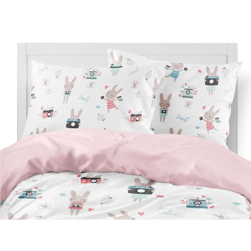 Bawełniana Pościel dziecięca do łóżeczka Rabbit Girl 140x200 dla dziewczynki