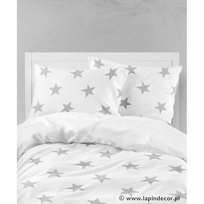 Bawełniana Pościel dziecięca do łóżeczka Szare Gwiazdki - Big Stars 90x120 dla chłopca