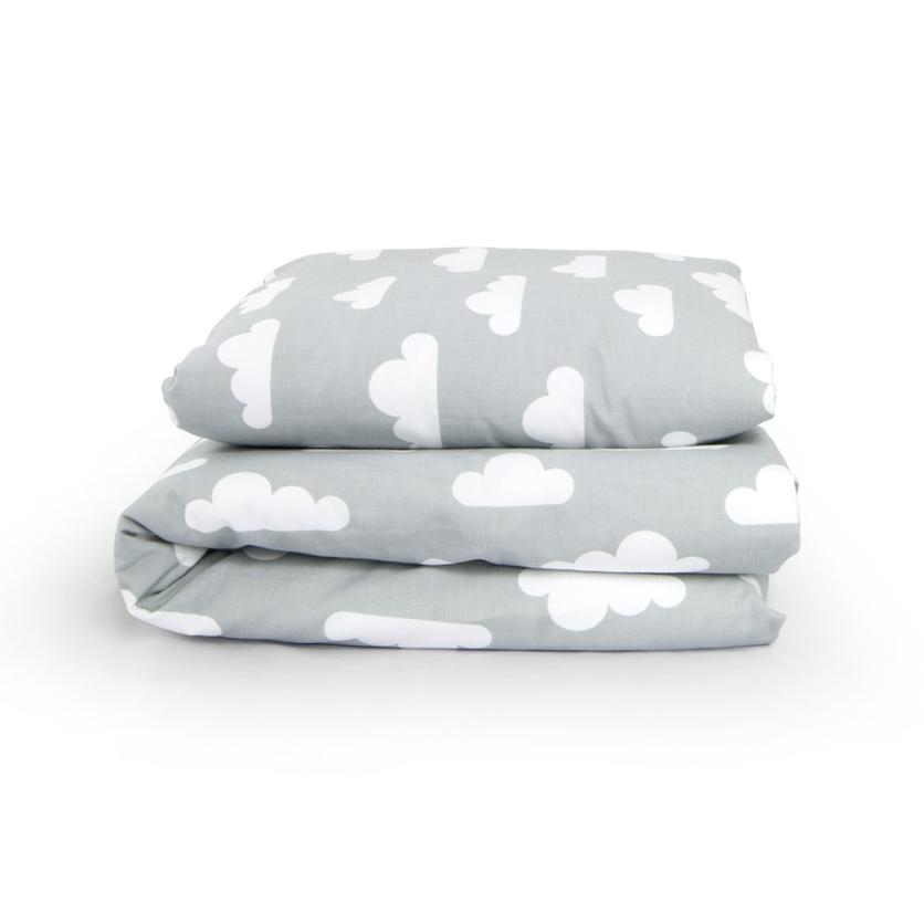Bawełniana Pościel dziecięca do łóżeczka Białe Chmurki 100x135 dla chłopca