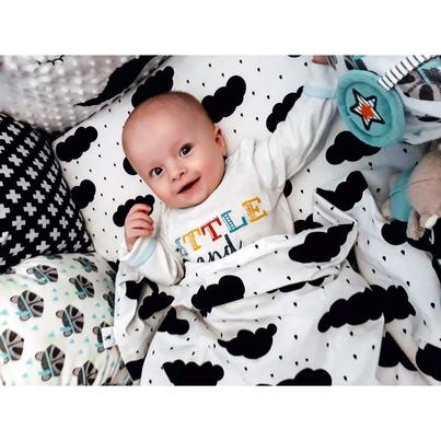 Bawełniana Pościel dziecięca do łóżeczka Deszczowe Chmurki - Czarne 100x135