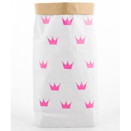 Papierowy worek na zabawki Różowe Korony