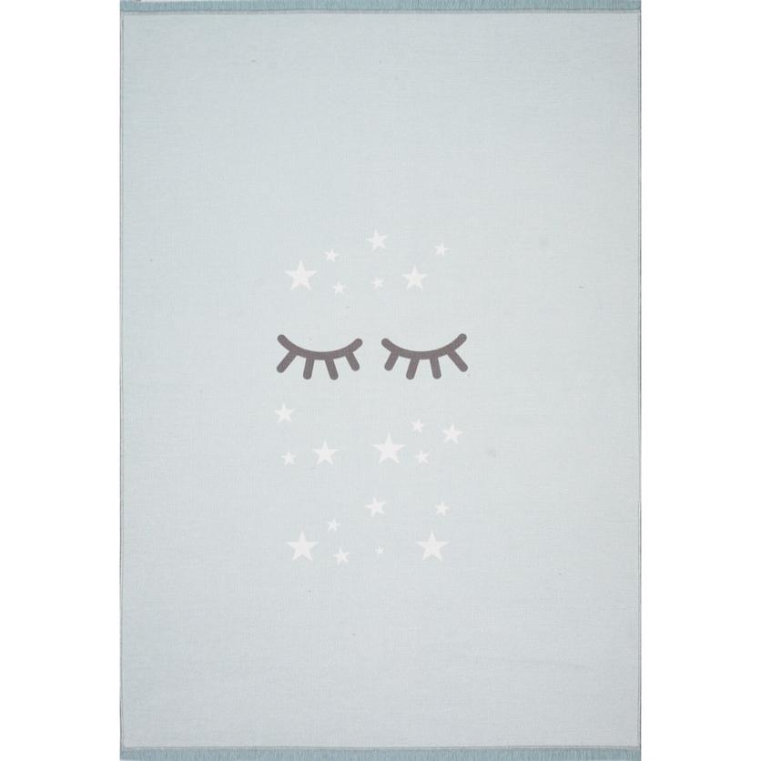 Dywan dziecięcy 140x190cm - Śpiące oczka - Miętowy do pokoju dziecięcego