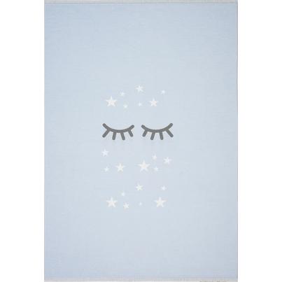 Dywan dziecięcy 140x190cm - Śpiące oczka - Błękitny do pokoju dziecięcego