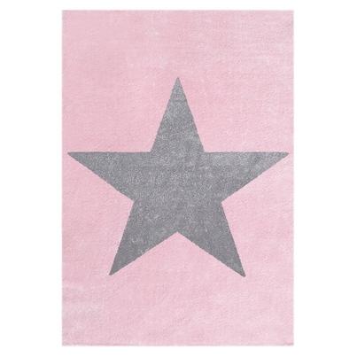 Dywan dziecięcy 160x230cm - Star Gray/Różowy do pokoju dziecięcego