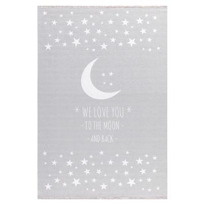 Dywan dziecięcy 140x190cm - Księżyc - Jasny szary do pokoju dziecięcego do pokoju dziecięcego