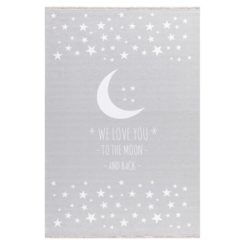 Dywan dziecięcy - Księżyc - Jasny szary do pokoju dziecięcego
