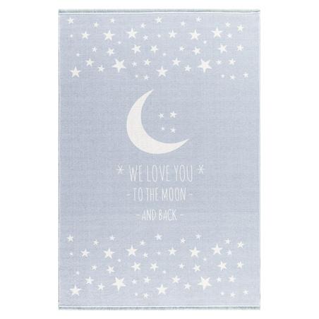 Dywan dziecięcy 140x190 - Księżyc - Błękitny do pokoju dziecięcego