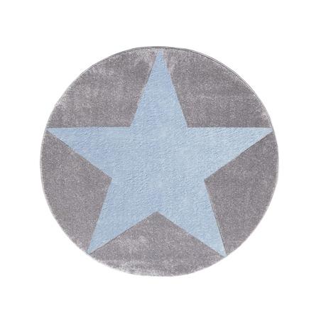 Dywan dziecięcy 160cm - ROUND STAR Blue/Gray
