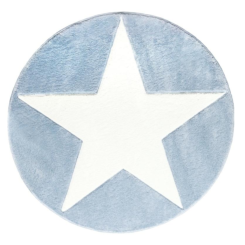 Dywan dziecięcy okrągły 160cm - Round Star White/Niebieski do pokoju dziecięcego