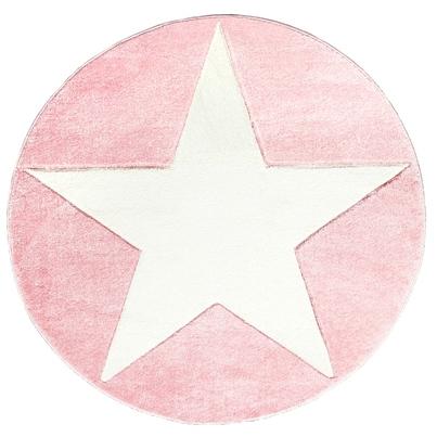 Dywan dziecięcy okrągły 160cm - Round Star White/Różowy do pokoju dziecięcego