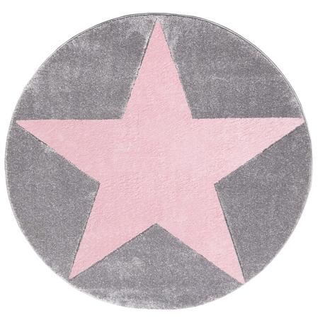 Dywan dziecięcy 160cm - ROUND STAR Pink/Gray