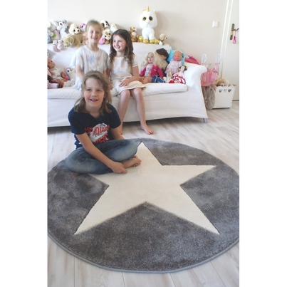 Dywan dziecięcy - ROUND STAR White/Gray