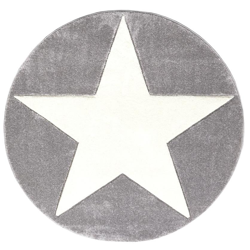 Dywan dziecięcy okrągły 160cm - Round Star White/Szary do pokoju dziecięcego