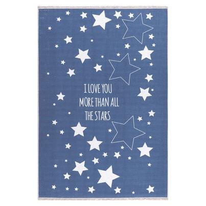 Dywan dziecięcy 140x190cm - Gwiazdki na niebie - Granatowy do pokoju dziecięcego