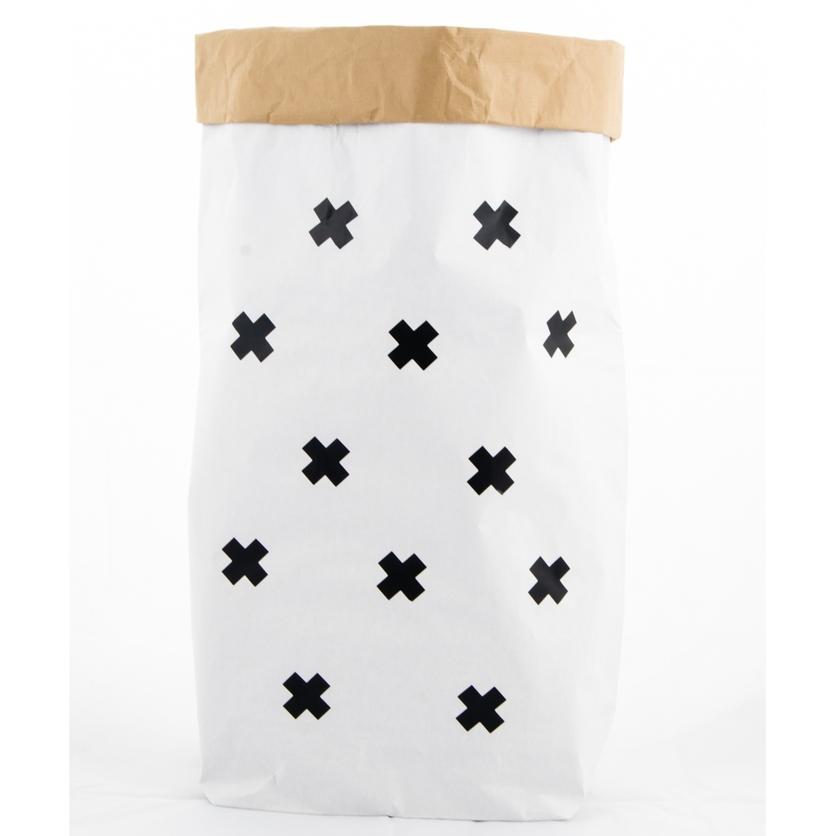 Papierowy worek na zabawki Krzyżyki 100x60cm dla dzieci