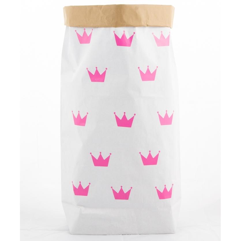 Papierowy worek na zabawki Różowe Korony 100x60cm dla dzieci