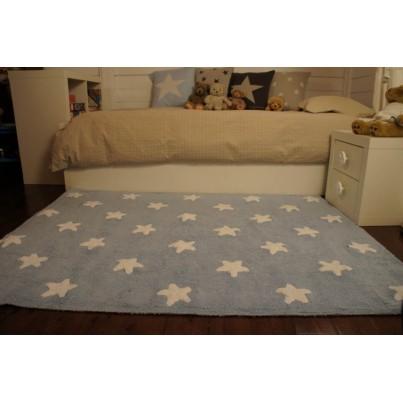 Dywan dziecięcy 120x160 cm gwiazdki - Niebieski - Stars White Lorena Canals do pokoju chłopięcego