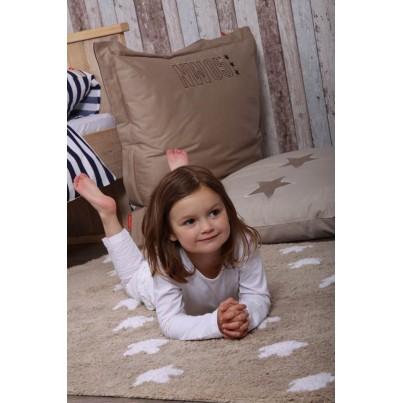 Dywan dziecięcy 120x160 cm gwiazdki - Beżowy - Linen Stars White Lorena Canals do pokoju chłopięcego