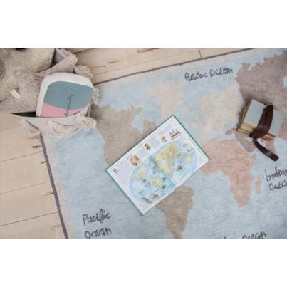 Dywan dziecięcy mapa świata 140x200 - Vintage Map Lorena Canals do pokoju dziecięcego