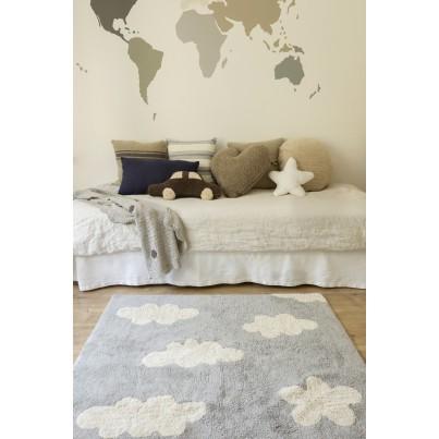Pastelowy Dywan dziecięcy chmurki 120x160 - Szary - Clouds Gris Lorena Canals dla chłopca