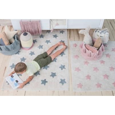 Dywan dziecięcy 120x160 cm gwiazdki - Biało-Różowy - Stars Natural -Vintage NudeLorena Canals do pokoju dziewczynki
