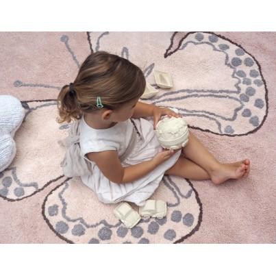 Pastelowy Dywan dziecięcy okrągły motylek 160 - Różowy - Butterfly Nude Lorena Canals dla dziewczynki