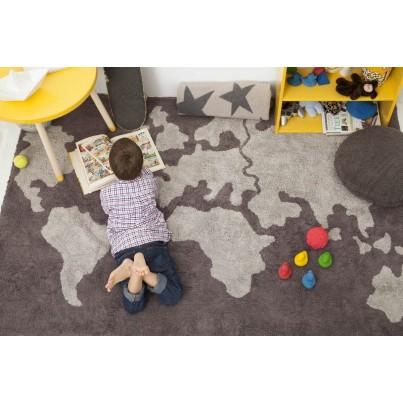 Dywan dziecięcy mapa świata 140x200 - Szary - Mapamundi Lorena Canals do pokoju dzieci