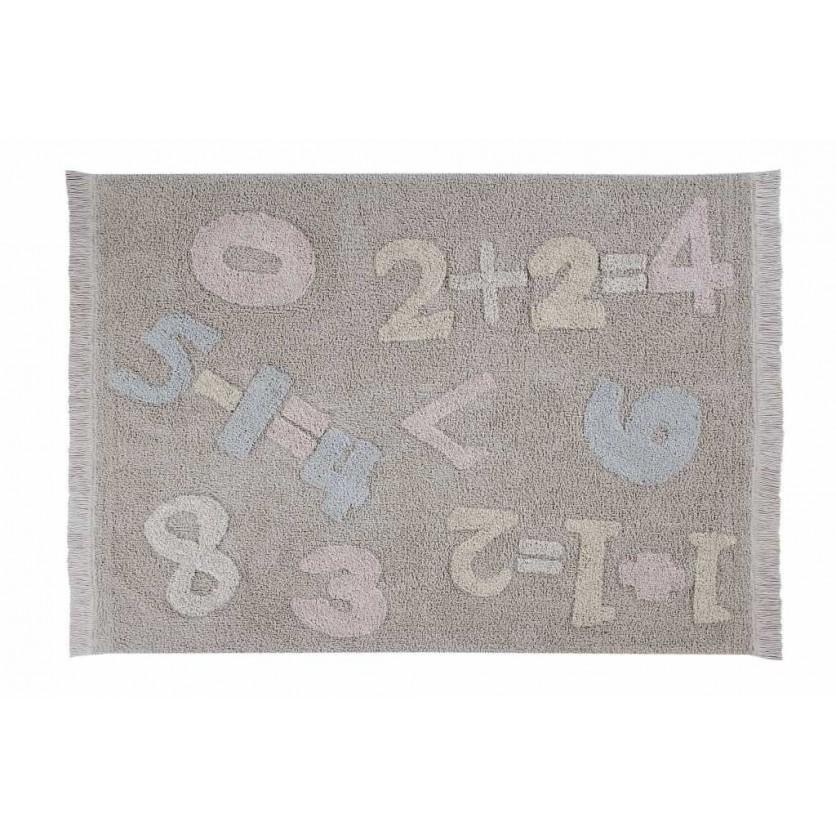 Pastelowy Dywan dziecięcy cyferki 120x160 - Szary - Baby Numbers Lorena Canals dla chłopca