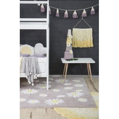 Pastelowy Dywan dziecięcy kwiatki 140x200 - Beżowy - Happy Daisies Lorena Canals dla dziewczynki