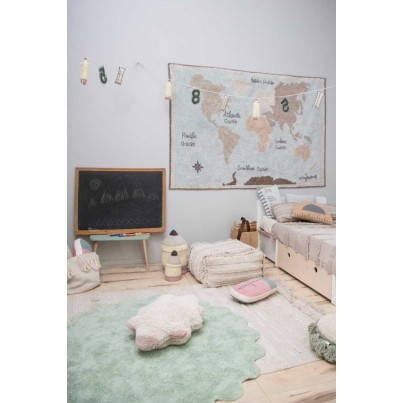 Dywan dziecięcy okrągły z owieczką 140 - Miętowy - Puffy Sheep Lorena Canals do pokoju dzieci