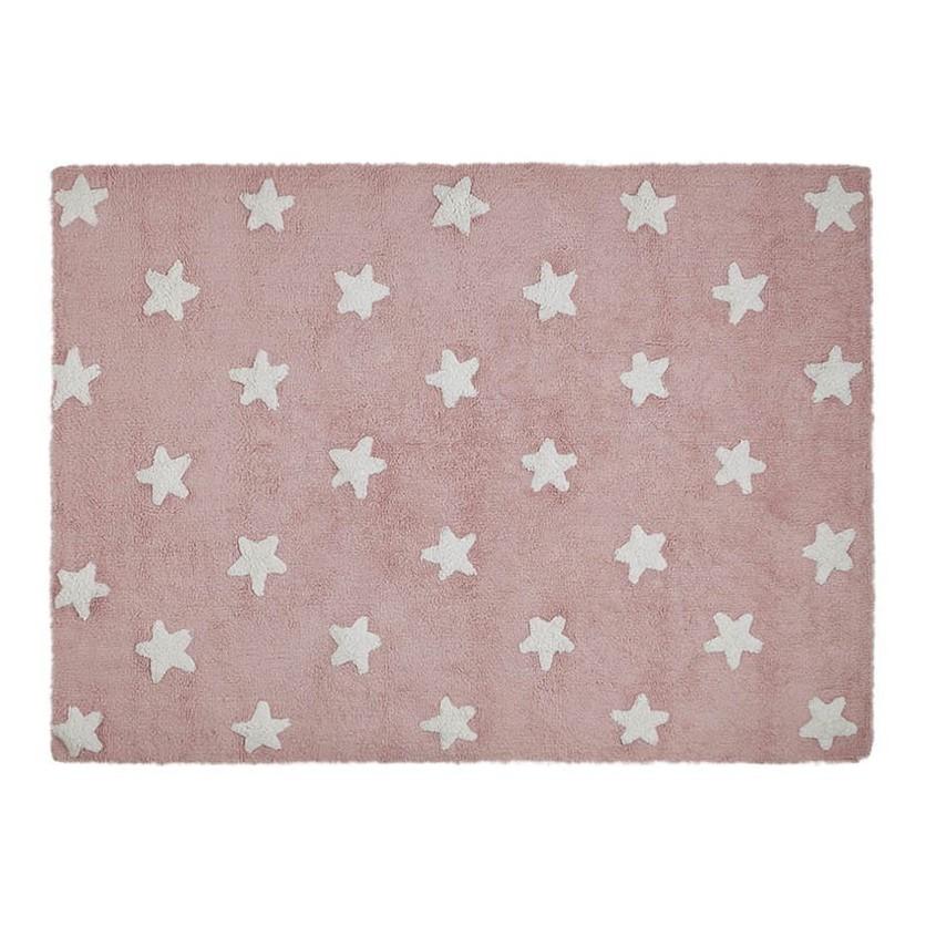 Dywan dziecięcy 120x160 cm gwiazdki - Różowy - Stars White Lorena Canals do pokoju dziewczynki