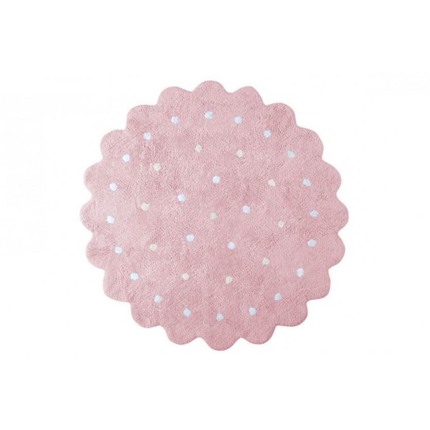 Pastelowy Dywan dziecięcy okrągły 140 - Różowy - Galletita Lorena Canals dla dziewczynki
