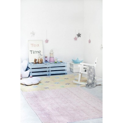 Pastelowy Dywan dziecięcy gwiazdki 120x160 - Tricolor Star Vanilla Lorena Canals dla dziewczynki
