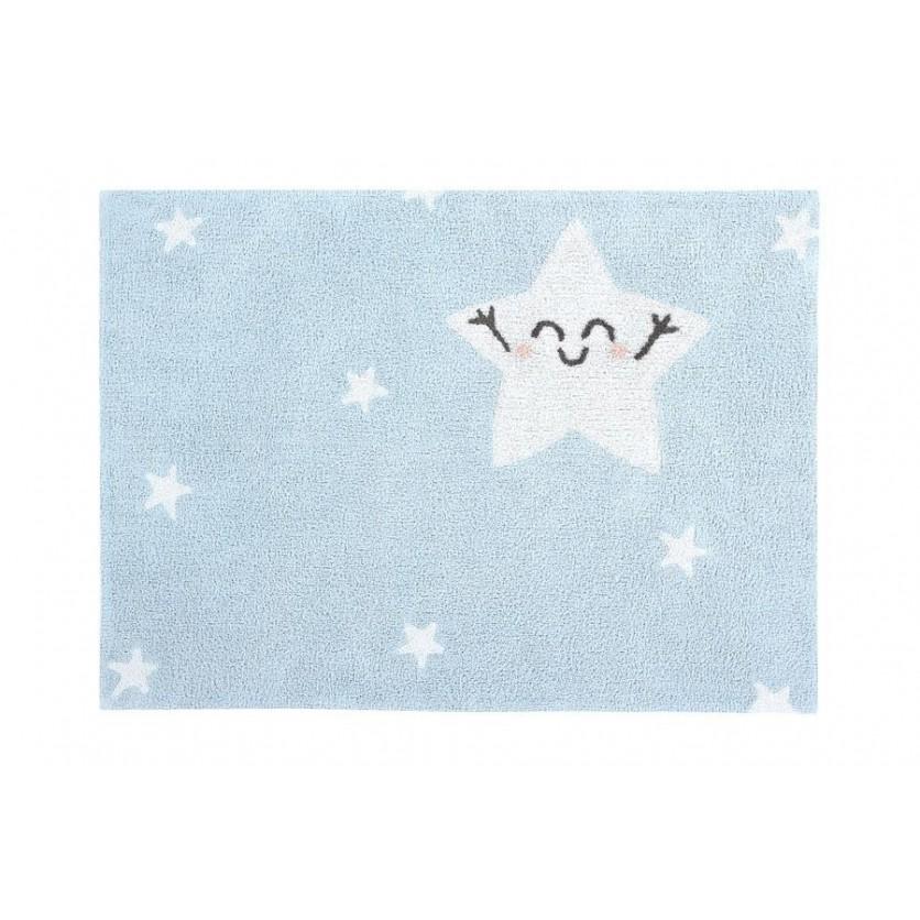 Pastelowy Dywan dziecięcy gwiazdki 120x160 - Błękitny - Happy Star, Mr Wonderful Lorena Canals dla chłopca