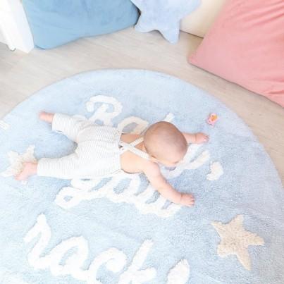 Pastelowy Dywan dziecięcy okrągły 120 -Błękitny - Baby, you rock!, Mr Wonderful Lorena Canals Lorena Canals dla chłopca