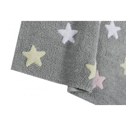 Dywan dziecięcy gwiazdki 120x160 - Szary - Tricolor Star Gris/Azul Lorena Canals do pokoju dzieci
