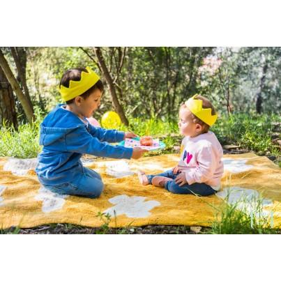 Dywan dziecięcy w chmurki 120x160 - Żółty - Clouds Mostaza Lorena Canals do pokoju dzieci