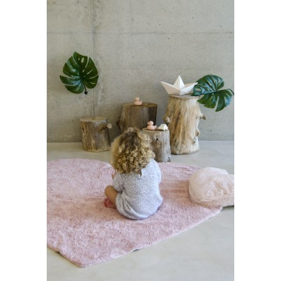 Pastelowy Dywan dziecięcy serce 160x180 - Różowy - Puffy Love Lorena Canals dla dziewczynki
