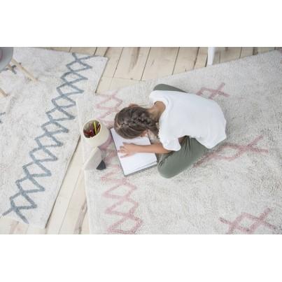 Pastelowy Dywan dziecięcy 120x160 - Beżowo-Różowy - Atlas Natural Lorena Canals dla dziewczynki