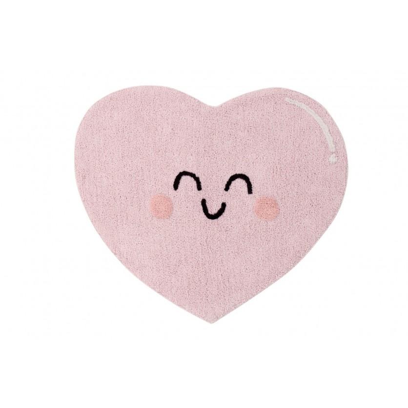Pastelowy Dywan dziecięcy serce 90x105 - Różowy - Happy Heart Mr Wonderful Lorena Canals dla dziewczynki