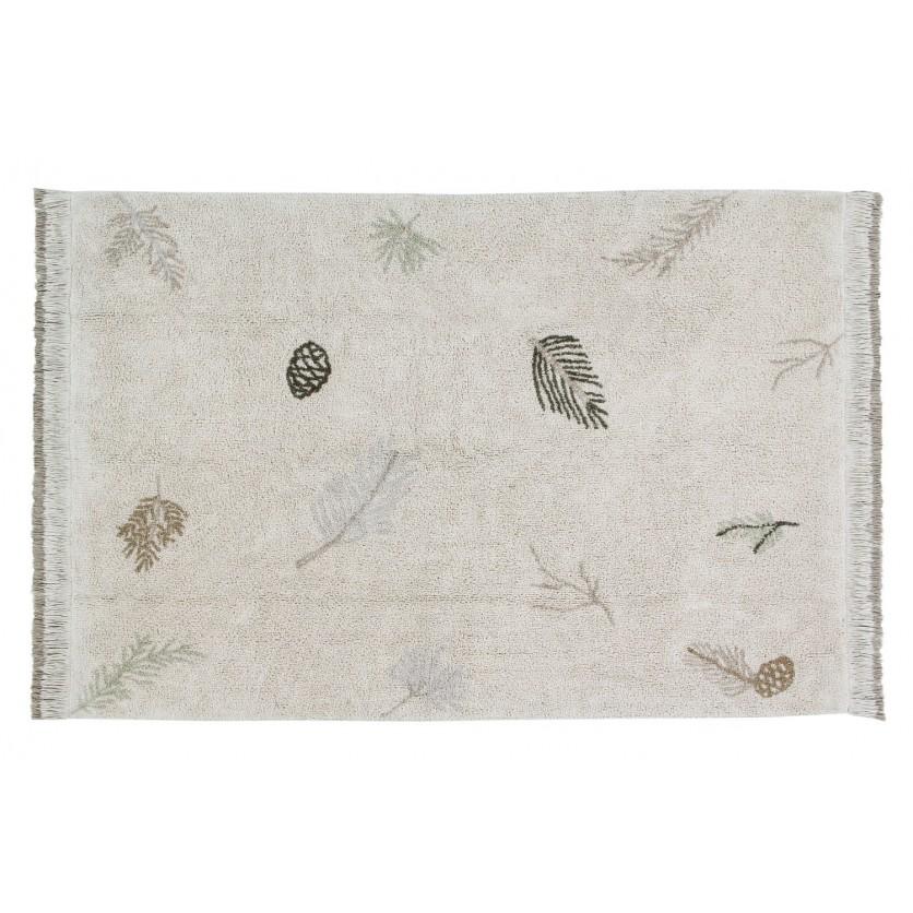 Pastelowy Dywan dziecięcy w liście 140x200 - Beżowy - Pine Forest Lorena Canals dla dziewczynki