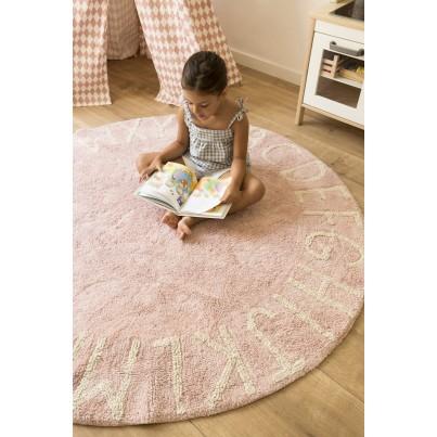 Pastelowy Dywan dziecięcy okrągły 150 - Różowy - Round ABC Lorena Canals dla dziewczynki